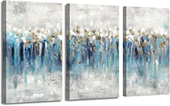 Canvas Wall Art Abstract Painting: Hand Painted Heavy Textured Blue & Gray with Gold Foils Embellishment Picture Artwork f...