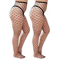 5cfbef6ec54 Womem s Sexy Black Fishnet Tights Plus Size Net Pantyhose Stockings