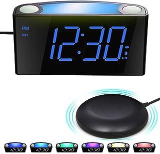 comprar comparacion Reloj Despertador por Vibración con Agitador de Cama, Pantalla Regulable de 7 '', 7 Luces Nocturnas en Color, 12/24, Confi...