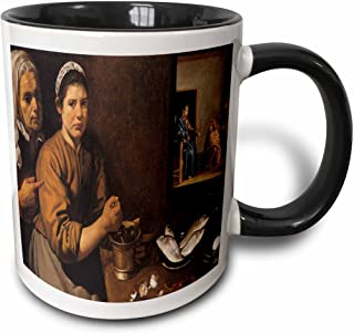 3dRose Kitchen Scene with Christ in the House of Martha and Mary by Diego Velazquez - Two Tone Black Mug, 330ml
