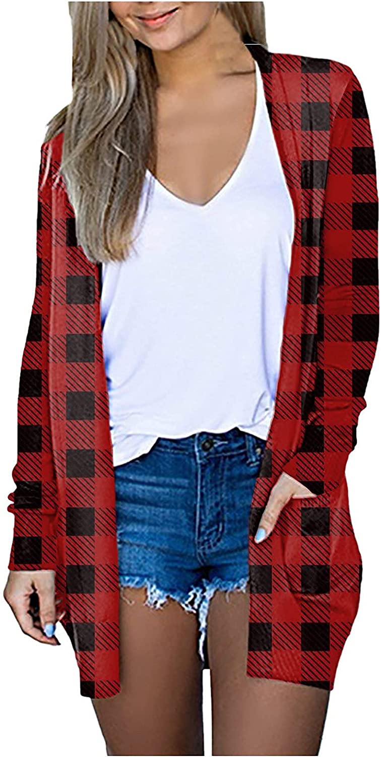 Women's Classic Plaid Cardigan Lightweight Fall Open Front Jacket Stylish Comfy Casual Outwear Pockets Long Sleeve Tops