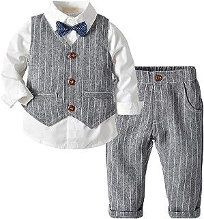 Fairy Baby Boys Outfit 4pcs Clothing Set Kid Formal Suit Cotton Tops Shirt+Vest+Pant Set