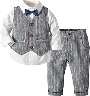 Fairy Baby Boys Outfit 4pcs Clothing Set Kid Formal Suit Cotton Tops Shirt+Vest+Pant Set