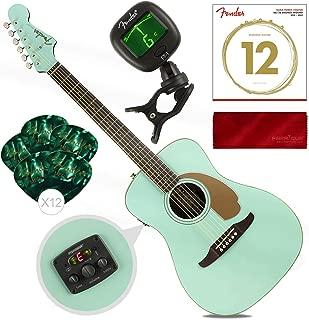Fender Malibu Player California Series Acoustic Guitar, Aqua Splash with Guitar Strings, Picks, Tuner and Cloth Accessory Pack Bundle