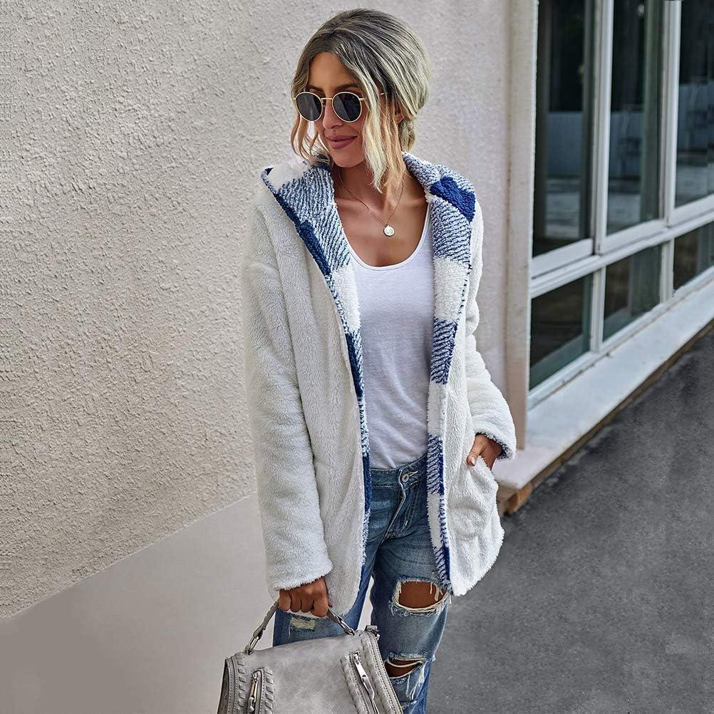 SODSIM Faux Fur Mantel Damen Elegant Winterjacke Plüschjacke mit Kapuze Flauschige Jacke Langarm Coat Outwear Blau