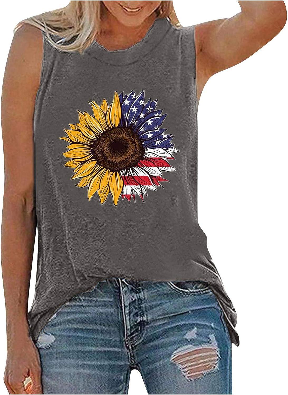 Womens Summer Tops Clearance,Womens Patriotic American Flag Print Summer Sexy Sleeveless T-Shirts Tank Top Gray