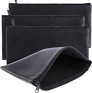 Tongnian Bank Bag Money Pouch Leatherette Security Deposit Bags Utility Zipper Bags for Cash Money,Check Wallet,Cosmetics,Tools, 11x 6 inch 4 Pack (Black)