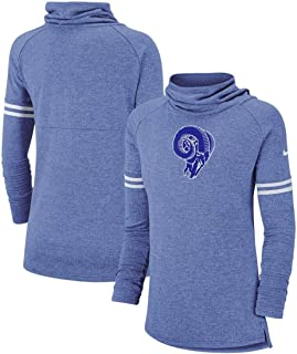 Nike Women's Los Angeles Rams NFL Historic Marks Long Sleeve Tri-Blend Funnel Sweatshirt Royal Bue Size Medium