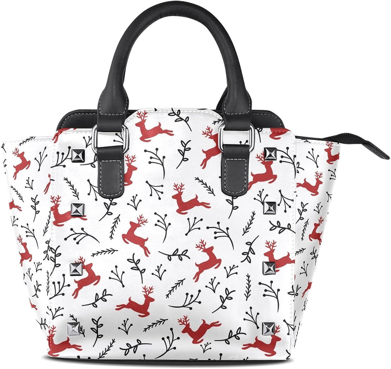 My Little Nest Women's Top Handle Satchel Handbag Reindeer Ladies PU Leather Shoulder Bag Crossbody Bag