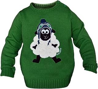 Carrolls Irish Gifts Round Neck Ireland Kids Sweater with Fluffy Sheep, Emerald Green Colour
