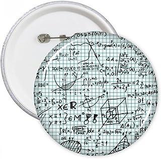 DIYthinker Géométrie Tridimensionnelle mathématiques formules Science Calculus Figure Broches Rondes Badge Button Vêtement...