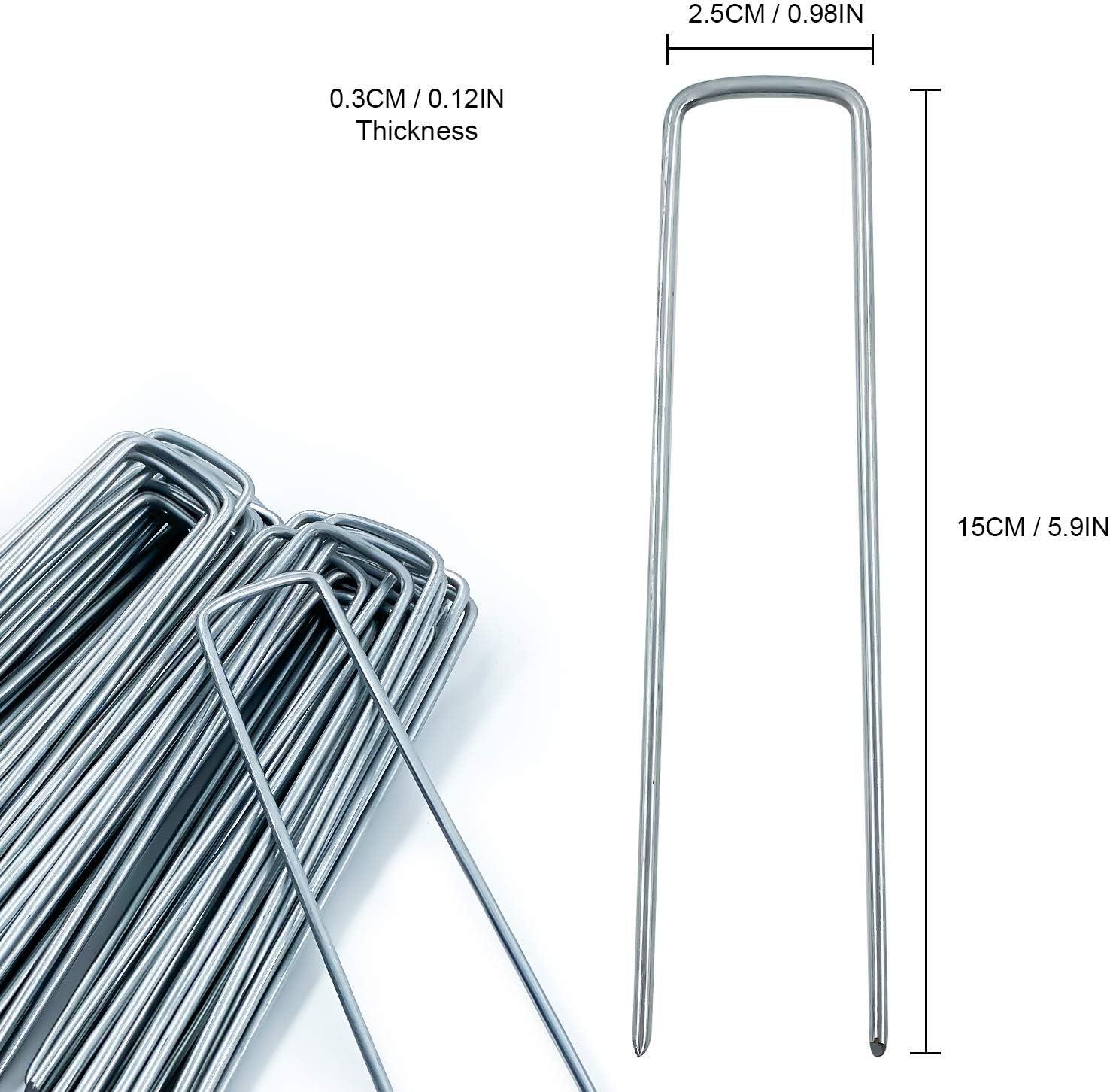 150 mm de Largo 2,8 mm de Di/ámetro AGAKY 40 Grapas de Jard/ín con 40 Arandelas Piquetas de Acero Pare C/ésped Artificial y Malla Antihierbas 25 mm de Ancho