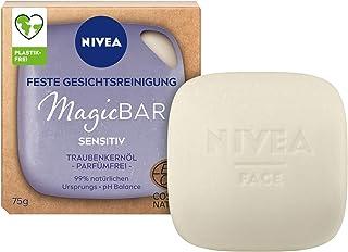 NIVEA MagicBar Fast ansiktsrengöring känslig (75 g), parfymfri ansiktsrengöring, certifierad naturkosmetik med druvkärneolja
