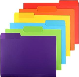 EOOUT 30pcs Plastic File Folders, 3 Tab Colored File Folder, Heavy Duty Letter Size, 6 Assorted Colors with Erasable Categ...