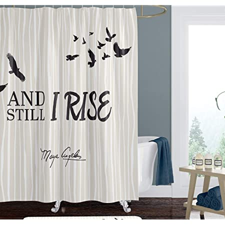 African American Expressions Shower Curtain With Hooks 71 X 71 Inch Stiped Beige And Black Still I Rise Maya Angelou Home Kitchen