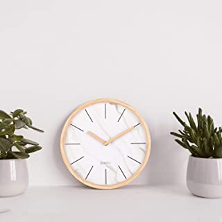 Adecor Marble Wall Clock, Classic No-Numerals Wooden Frame Wall Clock, Silent Non-Ticking Hanging Clock for Bedroom, Living Room, Kitchen, Cafe, Office - 12 Inch, White