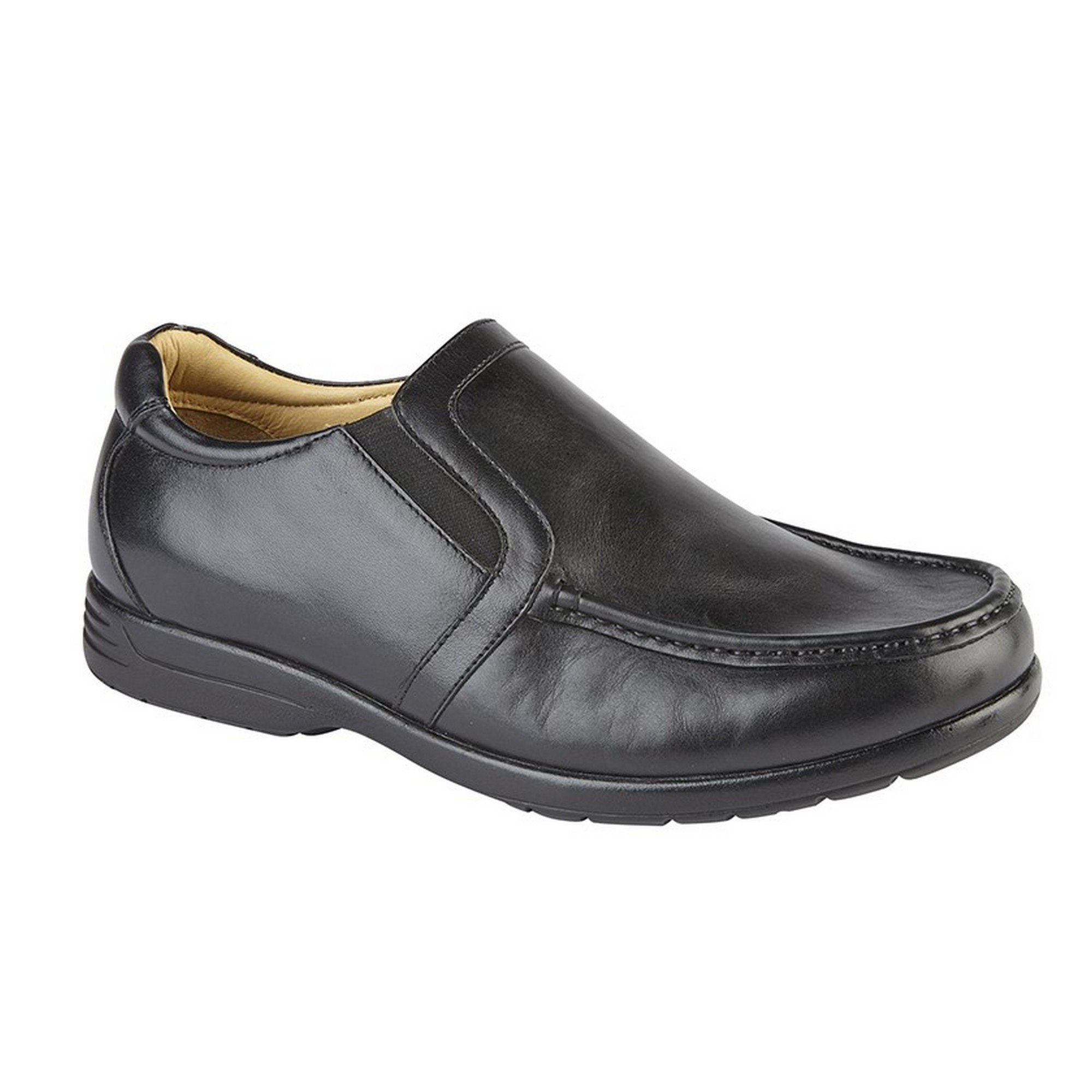 Roamer Mens Leather XXX Extra Wide Fit Twin Gusset Slip On Lightweight Casual Shoes