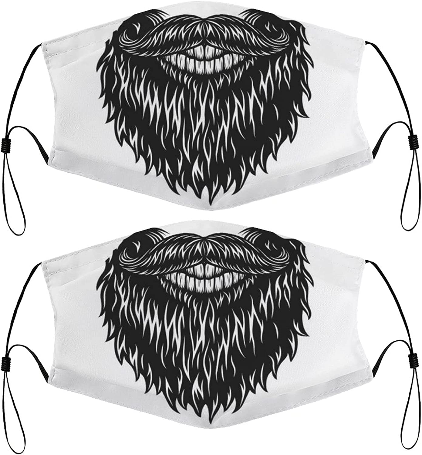 Costume Beard Kids Face Masks Set of 2 with 4 Filters Washable Reusable Breathable Black Cloth Bandanas Scarf for Unisex Boys Girls