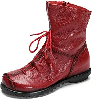 Clarsunny Women'S Genuine Leather Casual Soft Flat Boots