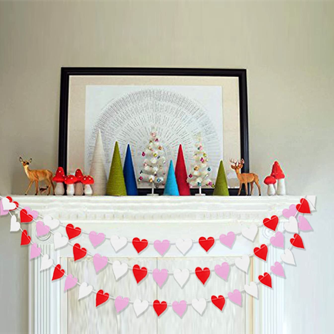 Colorful Heart Garland Bunting | Romantic Valentines Day Decoration?| Valentine Garland Banner | Bridal Shower, Engagement, Wedding Party Decorations | Home, Mantel Decor | Pack of 2 , 26.2 ft Total