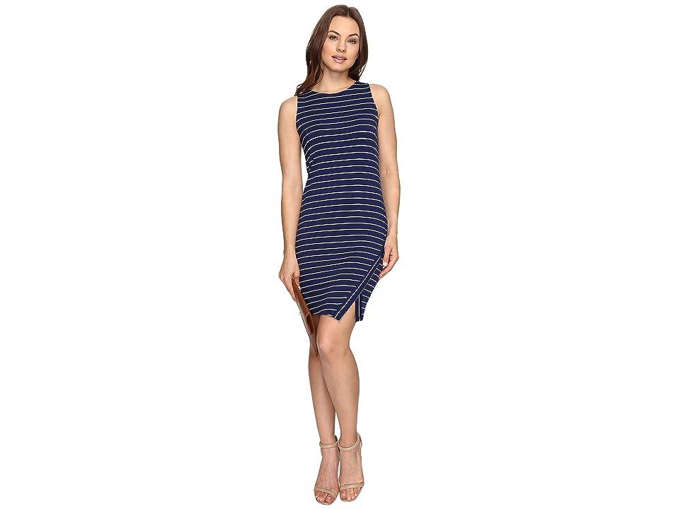 kensie Lightweight Viscose Spandex Dress and Side Slit KS6K7219 (True Navy Combo) Women