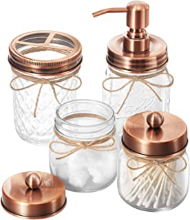 IMAVO Mason Jar Bathroom Accessories Set,4 Pcs Gift Set - Liquid Hand Soap Dispenser, Toothbrush Holder, 2 Qtip Holder (Ap...
