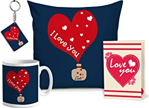 TIED RIBBONS I Love You Combo Pack (غطاء وسادة مع حشوة، كوب قهوة، وبطاقة تهنئة وحلقة مفاتيح) هدايا رومانسية لأعياد الميلاد للفتاة والزوجة والبنات