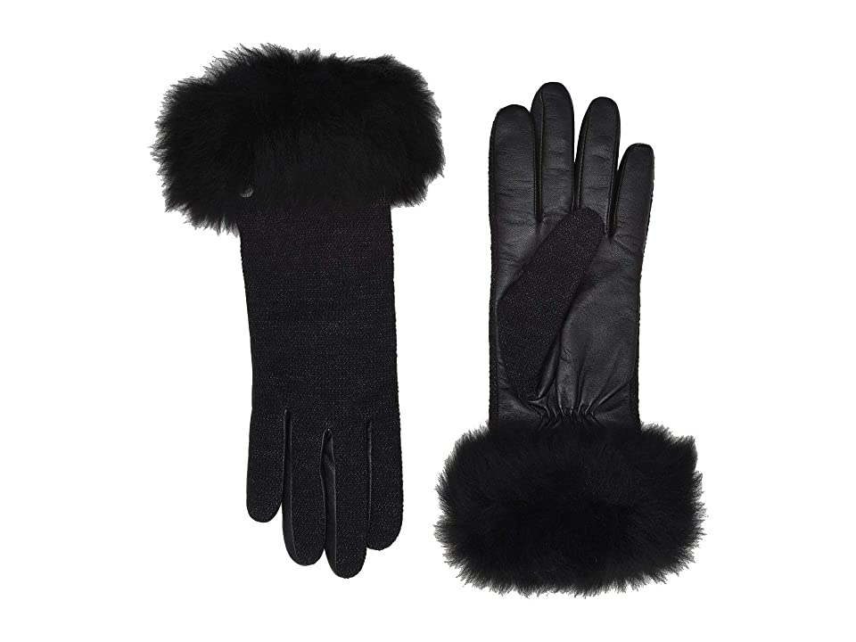 Vintage Style Gloves- Long, Wrist, Evening, Day, Leather, Lace UGG Italian Wool Blend Tech Gloves with Long Pile Sheepskin Trim Black Extreme Cold Weather Gloves $84.95 AT vintagedancer.com