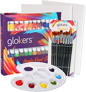 glokers Premium Acrylic Paint Set 24 Acrylic Paint Color Tubes, 10 Professional Paintbrushes, 2 Pcs Canvas Panel, Plastic Palette for Beginners, Adults, Students Or Professionals