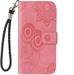Bear Village  Case for Sony Xperia XA2  Leather Case with Wrist Strap and Credit Card Slot  Sony Xperia XA2 Full Body Shockproof Protective Cover  Pink