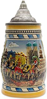 Beer Stein Engraved German Oktoberfest in Munich Scene Lidded Beer Mug by E.H.G. | 0.60 Liter