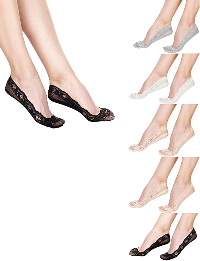 RufNTop Women Floral Lace, No Show Socks, Heel, Toe and Side Silicon Grip, Non Skid Low Cut Liner fake Socks(6 Pairs Set)