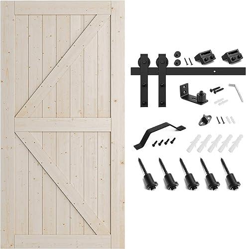 lowest SMARTSTANDARD 42in x 84in Sliding sale Barn Door with 7ft online Barn Door Hardware Kit & Handle, Pre-Drilled Ready to Assemble, DIY Unfinished Solid Spruce Wood Panelled Slab, K-Frame, Natural outlet sale