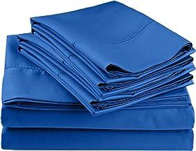 طقم ملاءات بخياطة بخياطة غنية، بكثافة خيوط 600 خيط مع أغطية وسائد إضافية، كامل، أزرق