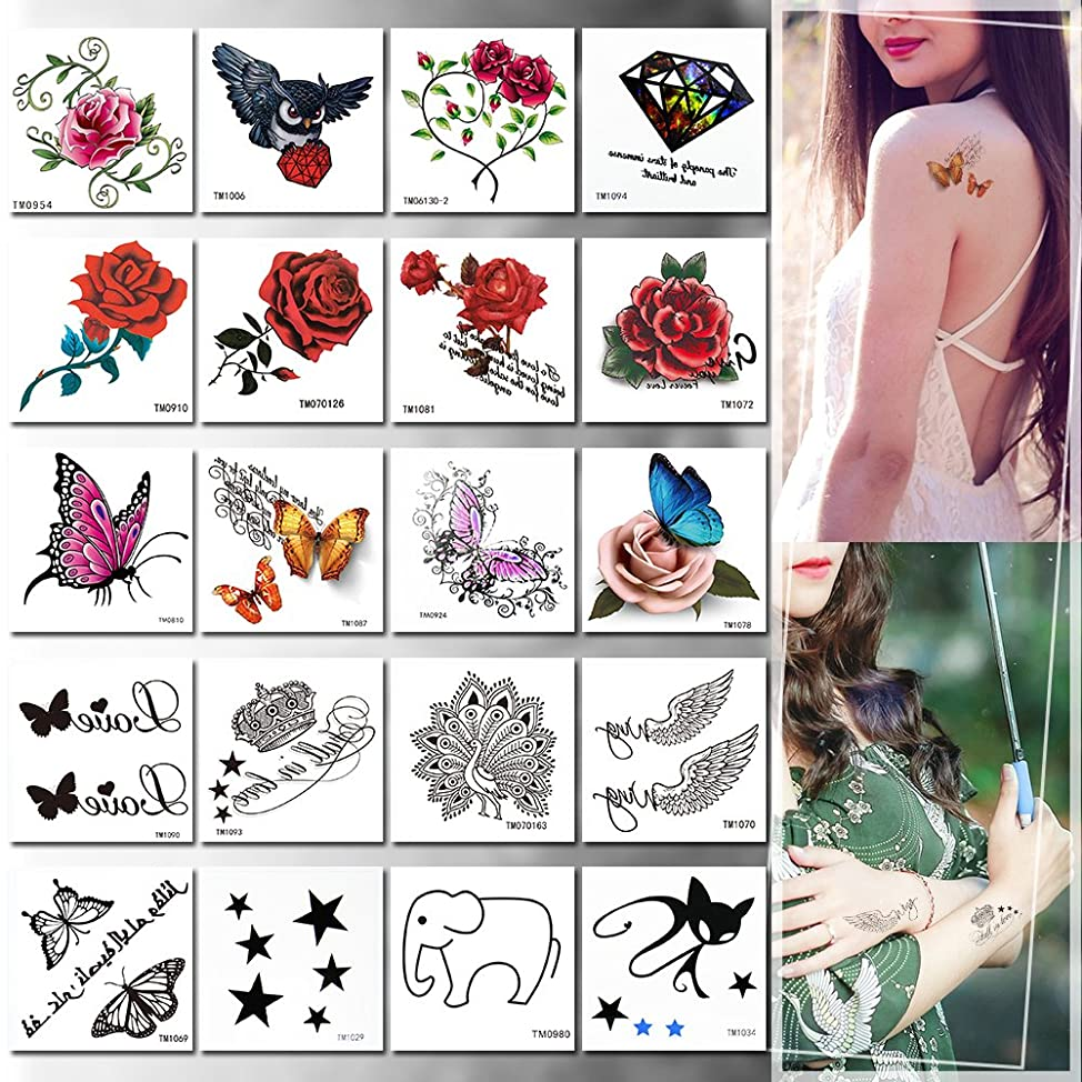 20 Pieces Temporary Tattoo, Rose, Animals and Butterfly Flash Tattoo, Easy to Apply and Long Lasting for Women Boys and Girls (20PCS Set C)