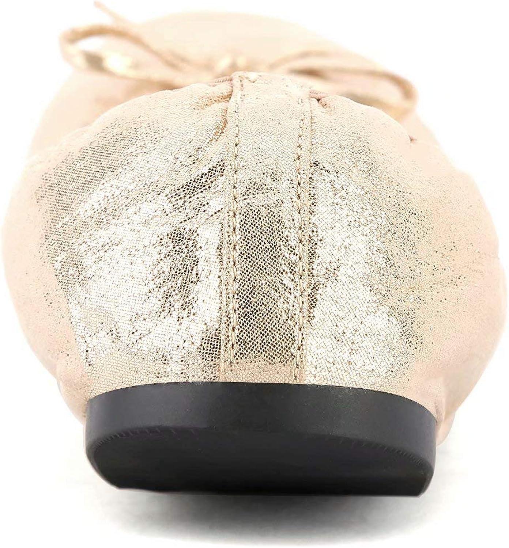 Greatonu Ballerines Plat Pliable Bout Ferm/é avec Semelle Souple Confortable Pointe Ronde pour Femme Un Peu Petite