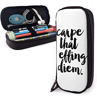 Carpe That Effing Diem Students Big Capacity Leather Pencil Case Pen Pouch Stationery Craft Supplies for School Work Office Gift