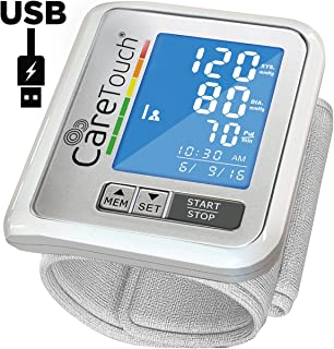 Care Touch Wrist Blood Pressure Monitor - with USB Charging - FDA Approved Slim Digital BP