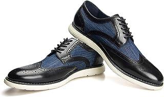 JITAI Men Oxfords Shoes Zapatos de Vestir Casuales para Hombres Zapatos de Moda Ligeros con Cordones