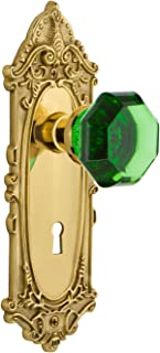 Nostalgic Warehouse 726027 Victorian Plate with Keyhole Privacy Waldorf Emerald Door Knob in Unlaquered Brass, 2.75