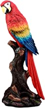 Ebros Gift Beautiful Tropical Rainforest Paradise Bird Scarlet Macaw Parrot Statue Perching On Tree Branch Decorative Figurine 13.75