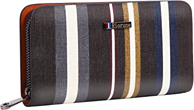Riorune Men's wallet multi-stripe round zipper