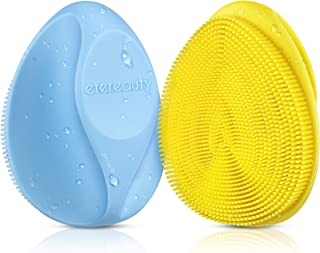 Silicone Face Scrubber Exfoliator Brush, ETEREAUTY Manual Facial Cleansing Brush Pad Soft Face Cleanser for Exfoliating an...