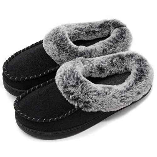 0df8d70fa11 ULTRAIDEAS Women s Cozy Memory Foam Moccasin Suede Slippers with Fuzzy  Plush Faux Fur Lining