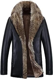 Mens Winter Skin Leather Coat Raccoon Fur Nagymaros Collar Outwear Thick Jacket