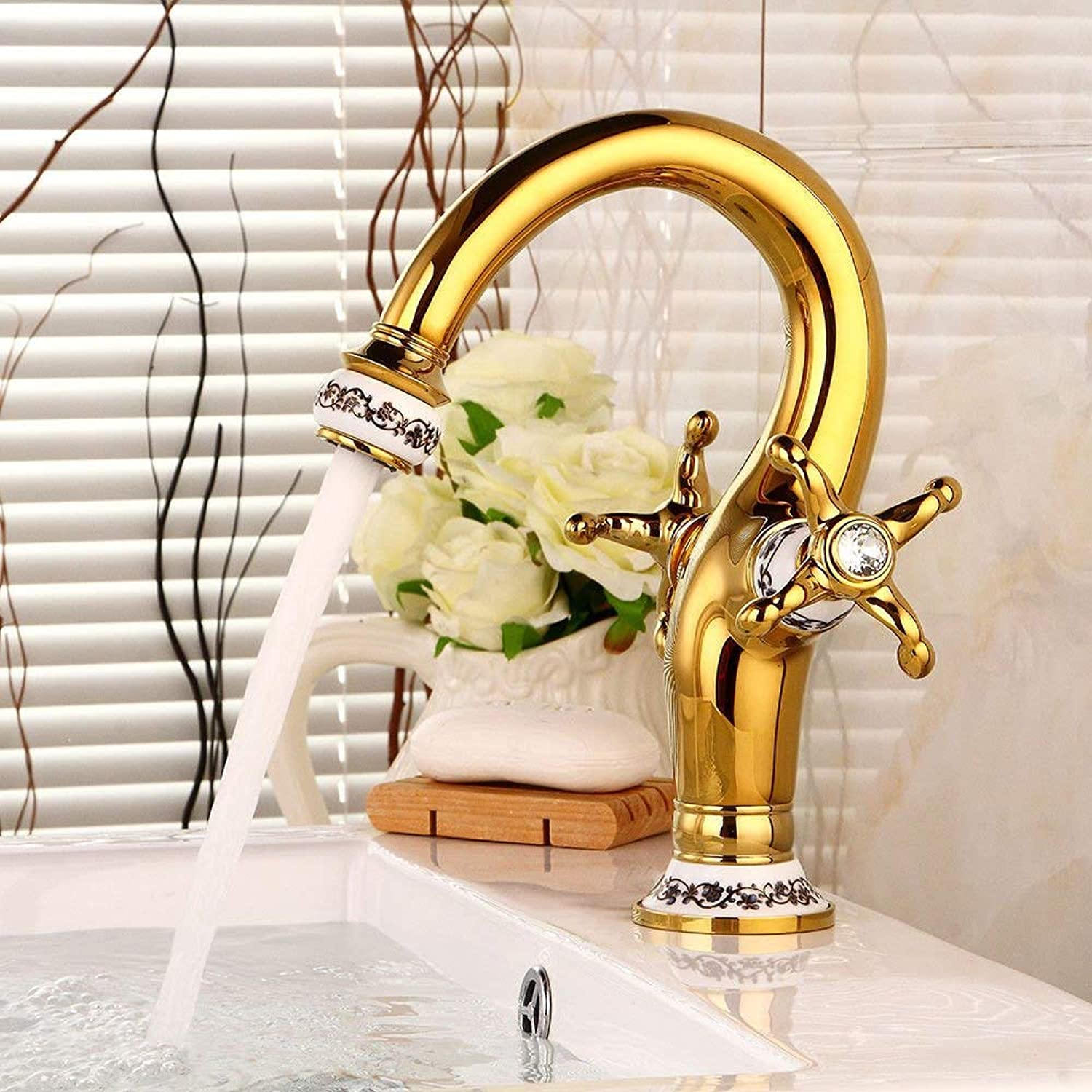 Bathroom Vanity Sink Faucet gold Retro Hot and Cold Water Double Handle Bathroom Basin Sink Tap Bathroom Faucet