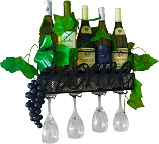 Mounted Wine Rack - With a Wall Wine Glass Rack for 4 Glasses - 5 Bottle Wine Holder Rack and a Cork Holder -A Wine Wall R...