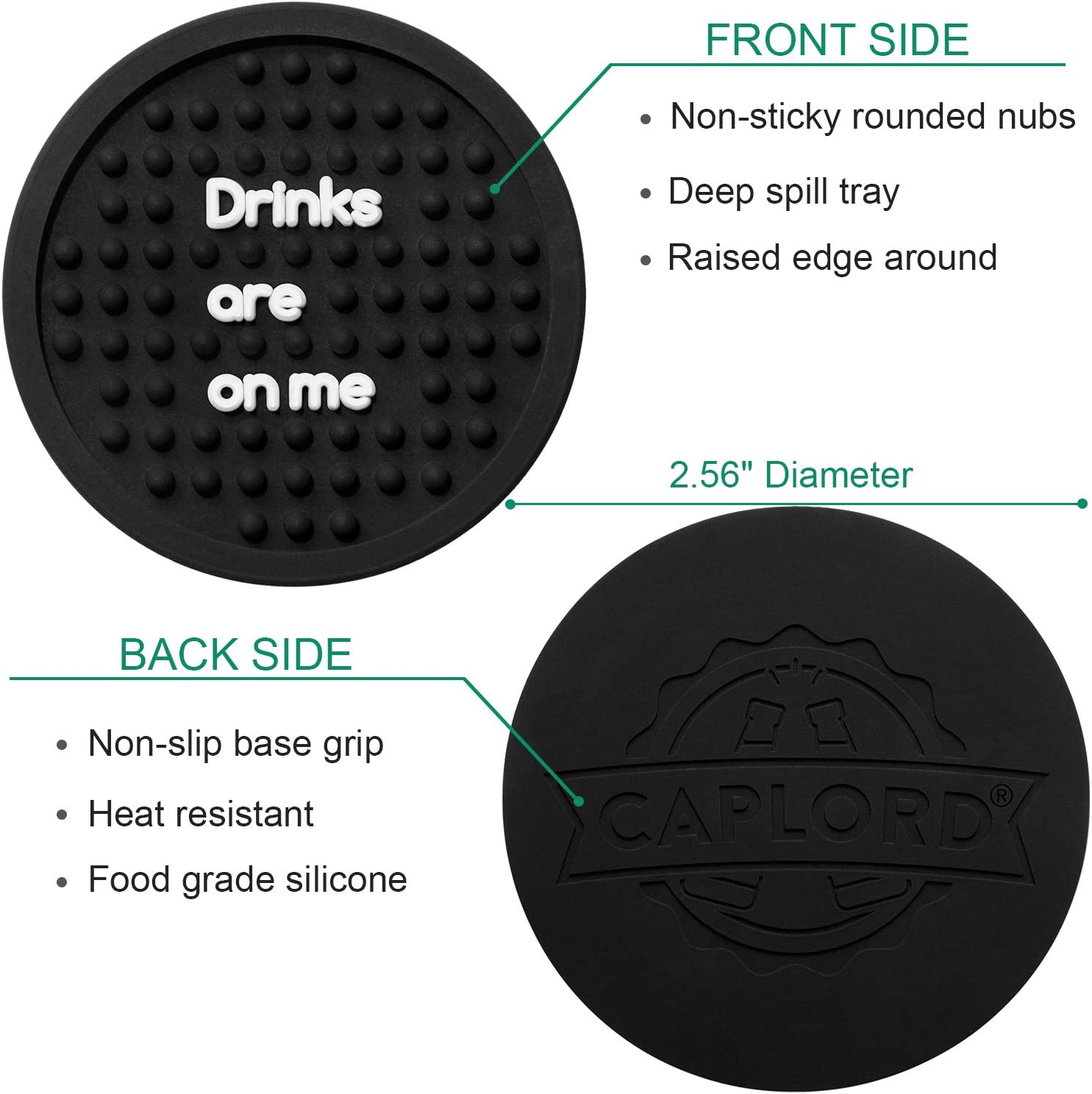 Absorbent Auto Silicone Cupholder Coaster 2.8 inch, Drinks are on me Drink Accessory to Keep Vehicle Free from Hot /& Cold Drink Sweat Stain and Spill CAPLORD Car Coasters Cup Holder