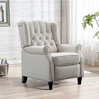 INZOY Pushback Recliner Chair, Modern Armchair with Padded Seat, Footrest, Accent Chair Push Back Recliner Fabric Adjustab...