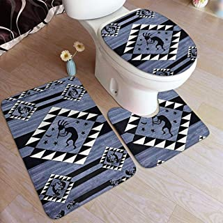 NA Bathroom Rugs Sets 3 Piece Southwest Native American Indian Dancing Kokopelli Soft Anti-Slip 3 PCS Bath Rug Mats Set U-Shaped Toilet Mat+ Lid Cover+ Absorbent Bath Rugs